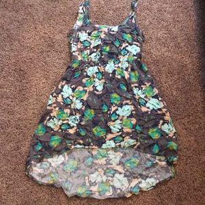 Flowery print hi-lo dress